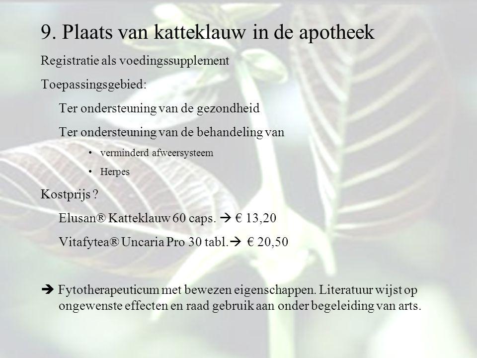 9. Plaats van katteklauw in de apotheek Registratie als voedingssupplement Toepassingsgebied: Ter ondersteuning van de gezondheid Ter ondersteuning va