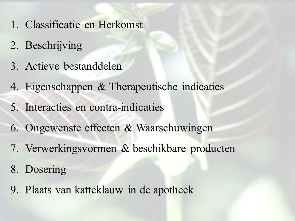 1.Classificatie en Herkomst 2.Beschrijving 3.Actieve bestanddelen 4.Eigenschappen & Therapeutische indicaties 5.Interacties en contra-indicaties 6.Ong