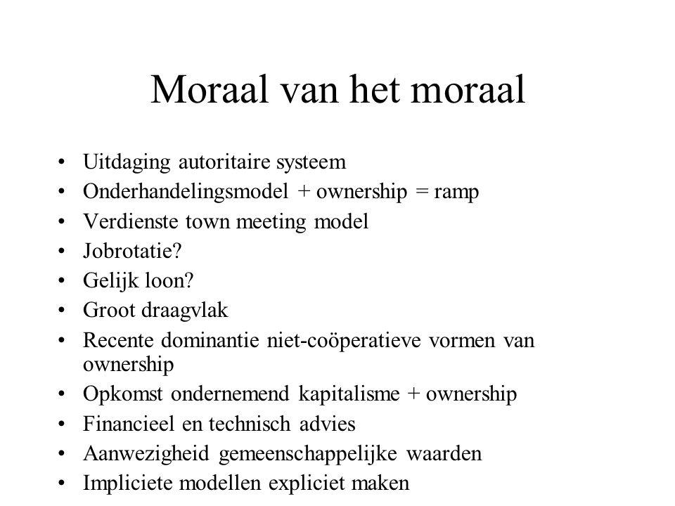 Moraal van het moraal Uitdaging autoritaire systeem Onderhandelingsmodel + ownership = ramp Verdienste town meeting model Jobrotatie.