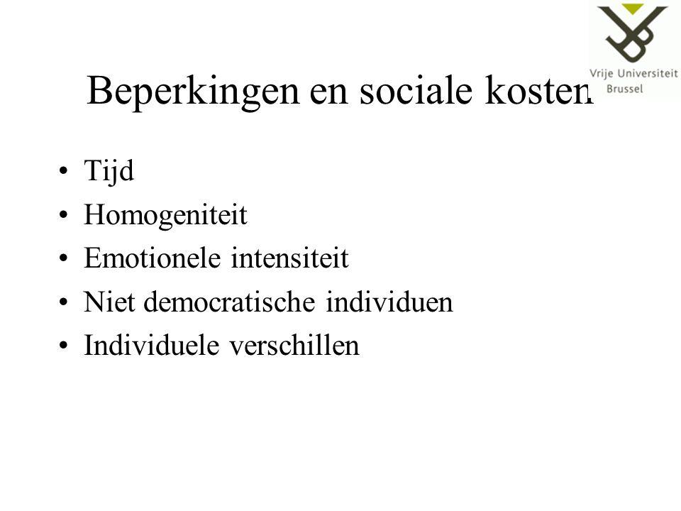 Beperkingen en sociale kosten Tijd Homogeniteit Emotionele intensiteit Niet democratische individuen Individuele verschillen