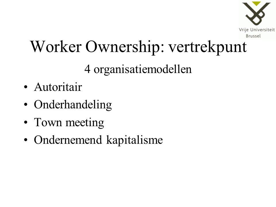 Worker Ownership: vertrekpunt 4 organisatiemodellen Autoritair Onderhandeling Town meeting Ondernemend kapitalisme