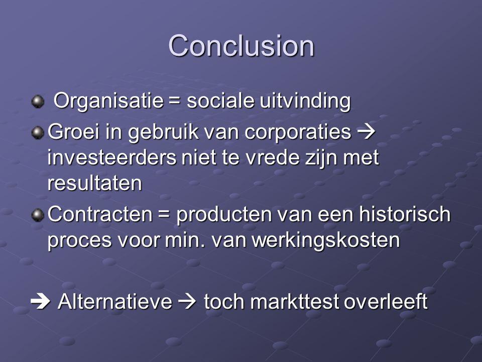 Conclusion Organisatie = sociale uitvinding Organisatie = sociale uitvinding Groei in gebruik van corporaties  investeerders niet te vrede zijn met r