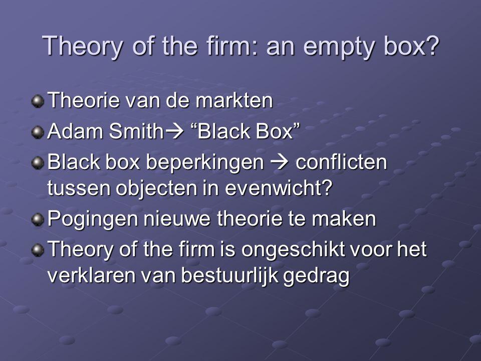 Agency Costs Theory of the firm  problemen  agency costs Agency relationship = organisatorische relaties  Wat.