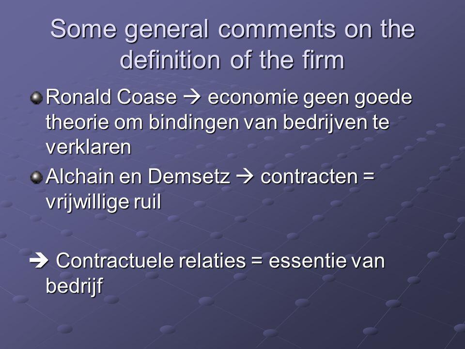 Some general comments on the definition of the firm Ronald Coase  economie geen goede theorie om bindingen van bedrijven te verklaren Alchain en Dems