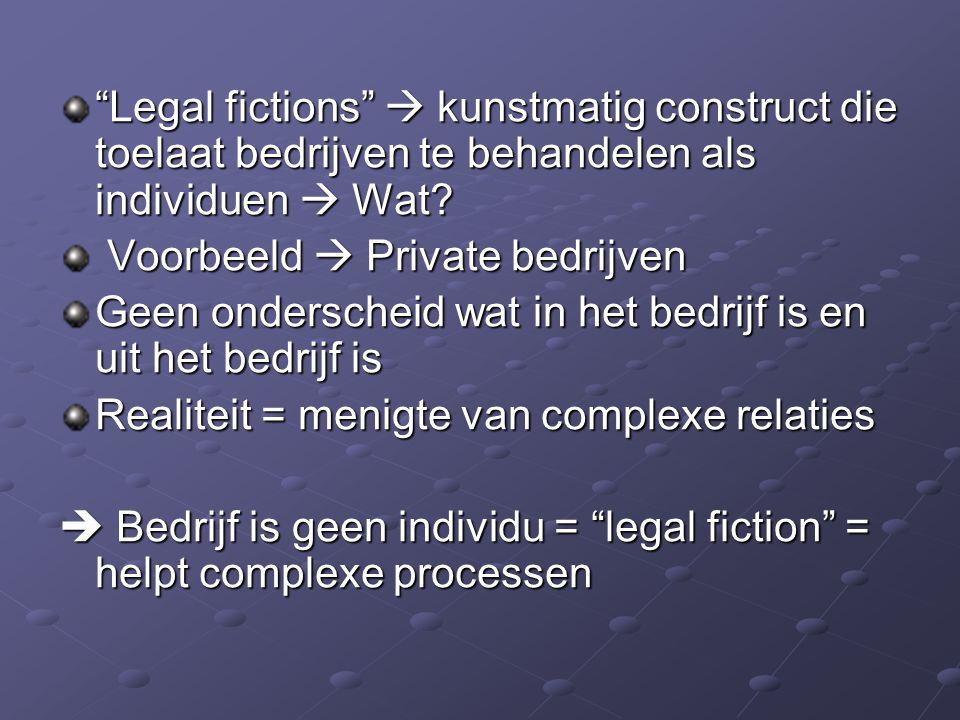 """""""Legal fictions""""  kunstmatig construct die toelaat bedrijven te behandelen als individuen  Wat? Voorbeeld  Private bedrijven Voorbeeld  Private be"""