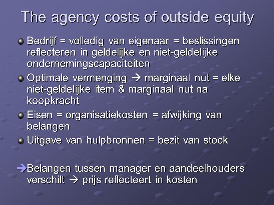 The agency costs of outside equity Bedrijf = volledig van eigenaar = beslissingen reflecteren in geldelijke en niet-geldelijke ondernemingscapaciteite