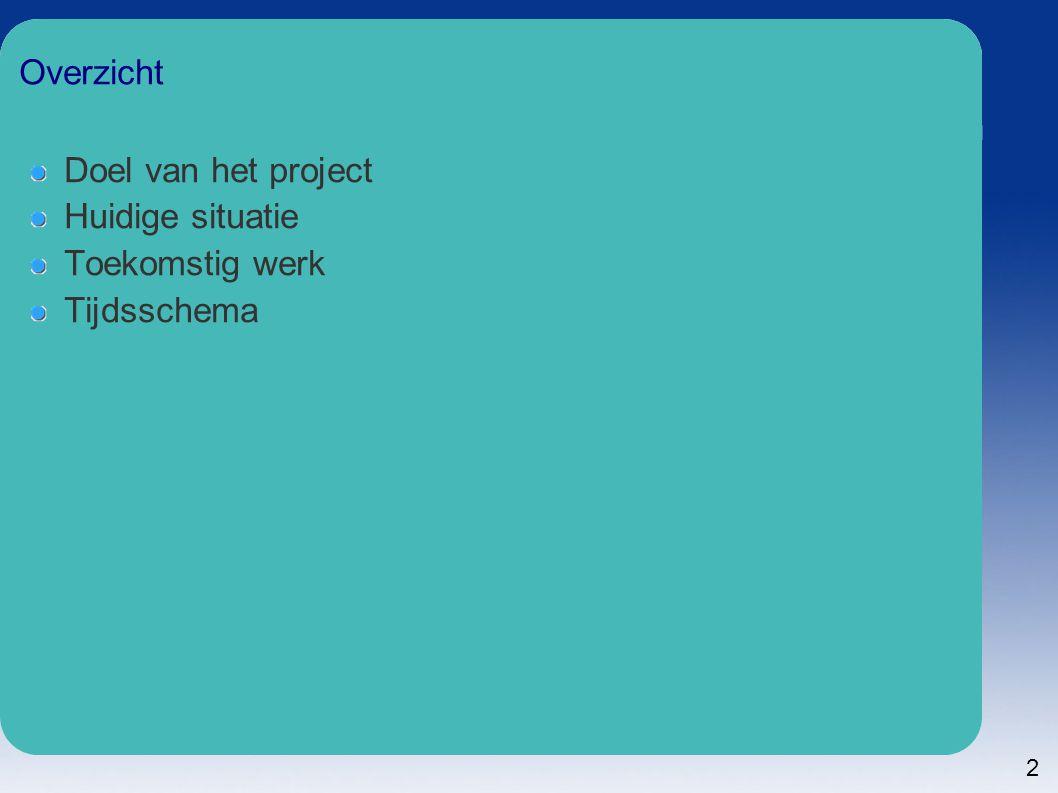 2 Overzicht Doel van het project Huidige situatie Toekomstig werk Tijdsschema