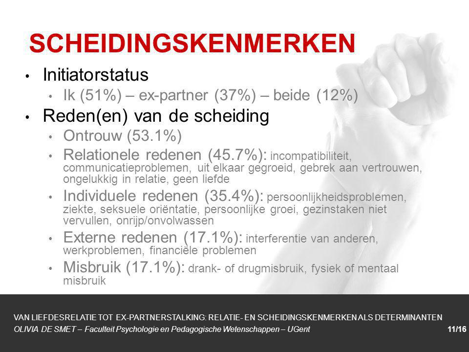 1/1 Initiatorstatus Ik (51%) – ex-partner (37%) – beide (12%) Reden(en) van de scheiding Ontrouw (53.1%) Relationele redenen (45.7%): incompatibilitei