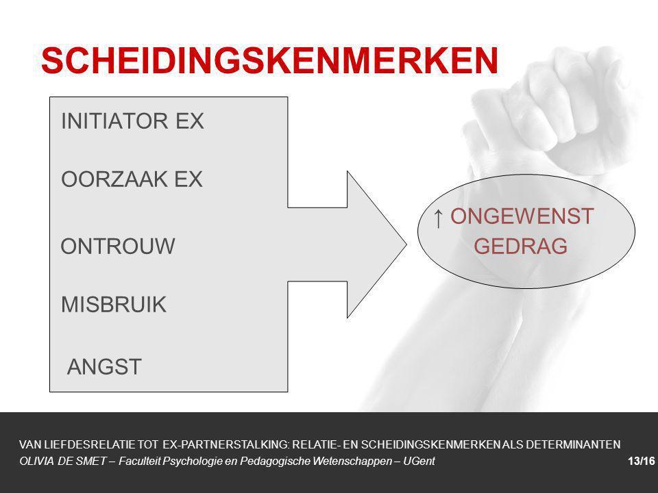 1/1 INITIATOR EX OORZAAK EX ↑ ONGEWENST ONTROUW GEDRAG MISBRUIK ANGST SCHEIDINGSKENMERKEN VAN LIEFDESRELATIE TOT EX-PARTNERSTALKING: RELATIE- EN SCHEI