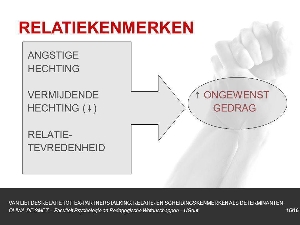 1/1 ANGSTIGE HECHTING VERMIJDENDE ↑ ONGEWENST HECHTING ( ↓ ) GEDRAG RELATIE- TEVREDENHEID RELATIEKENMERKEN VAN LIEFDESRELATIE TOT EX-PARTNERSTALKING: