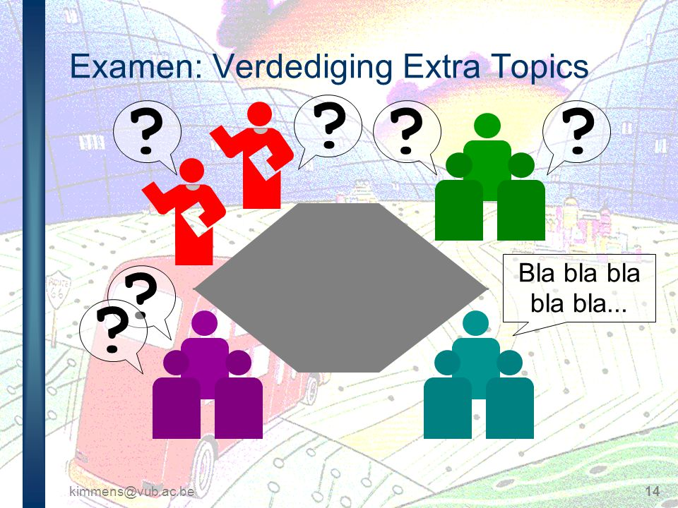 kimmens@vub.ac.be14 Examen: Verdediging Extra Topics ? ? ?? ? ? Bla bla bla bla bla...