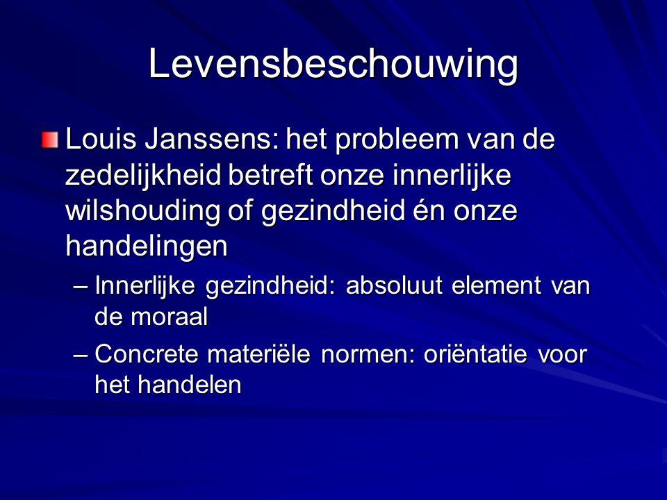 Levensbeschouwing Louis Janssens: het probleem van de zedelijkheid betreft onze innerlijke wilshouding of gezindheid én onze handelingen –Innerlijke gezindheid: absoluut element van de moraal –Concrete materiële normen: oriëntatie voor het handelen