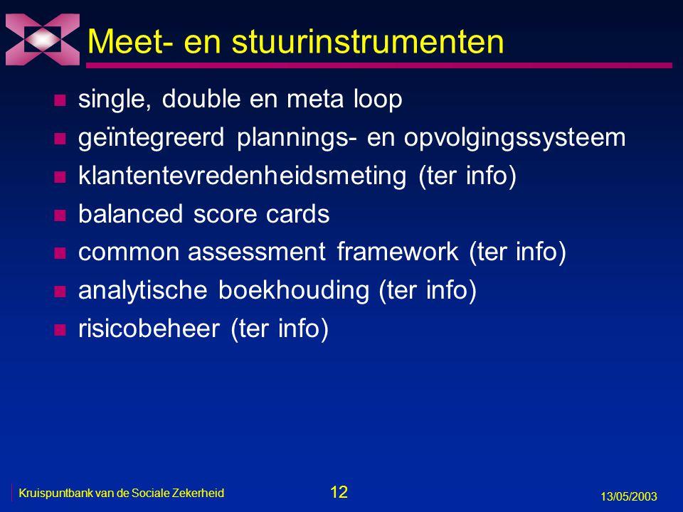 12 13/05/2003 Kruispuntbank van de Sociale Zekerheid Meet- en stuurinstrumenten n single, double en meta loop n geïntegreerd plannings- en opvolgingss