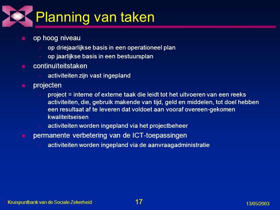 17 13/05/2003 Kruispuntbank van de Sociale Zekerheid Planning van taken n op hoog niveau -op driejaarlijkse basis in een operationeel plan -op jaarlij