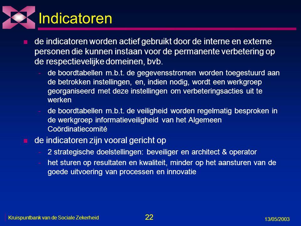22 13/05/2003 Kruispuntbank van de Sociale Zekerheid Indicatoren n de indicatoren worden actief gebruikt door de interne en externe personen die kunne