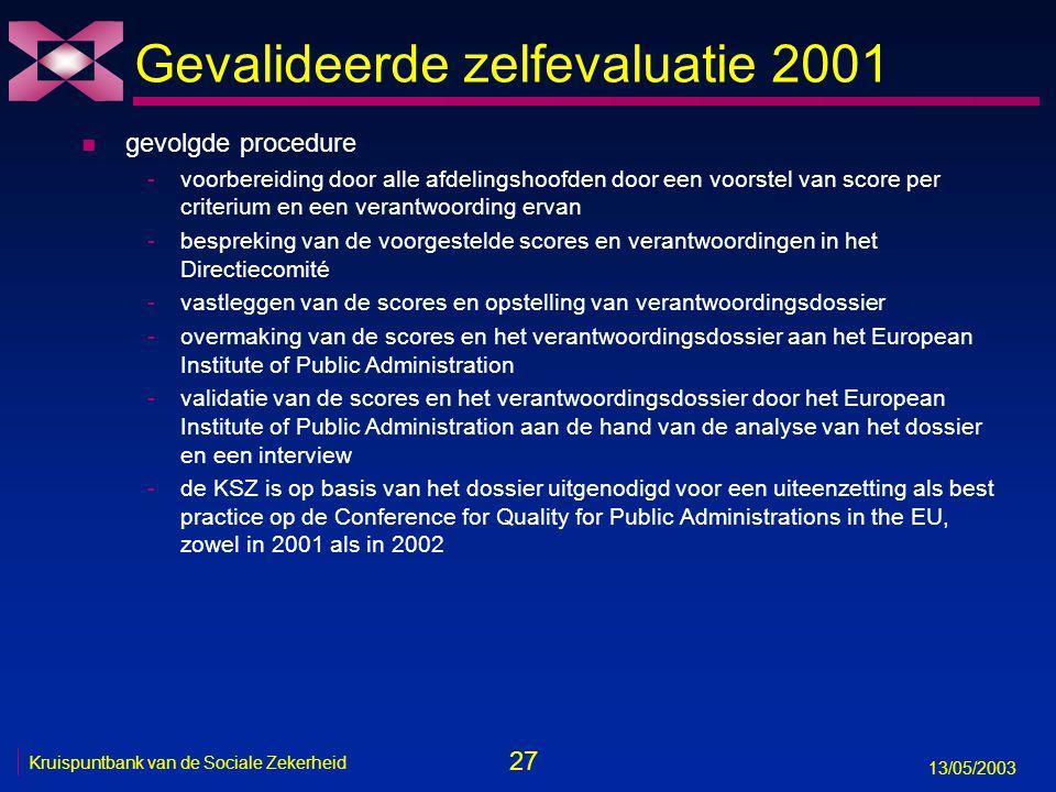 27 13/05/2003 Kruispuntbank van de Sociale Zekerheid Gevalideerde zelfevaluatie 2001 n gevolgde procedure -voorbereiding door alle afdelingshoofden do