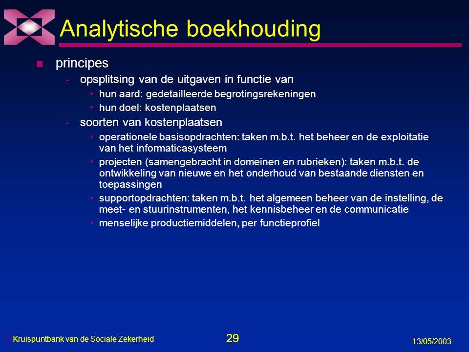 29 13/05/2003 Kruispuntbank van de Sociale Zekerheid Analytische boekhouding n principes -opsplitsing van de uitgaven in functie van hun aard: gedetai