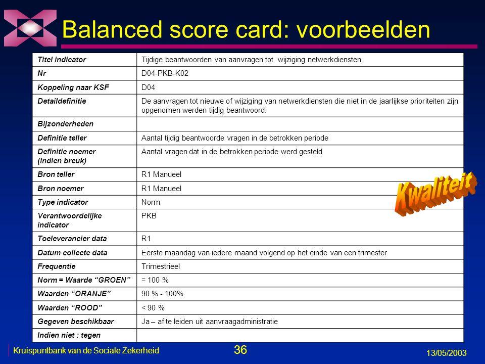 36 13/05/2003 Kruispuntbank van de Sociale Zekerheid Balanced score card: voorbeelden Titel indicatorTijdige beantwoorden van aanvragen tot wijziging