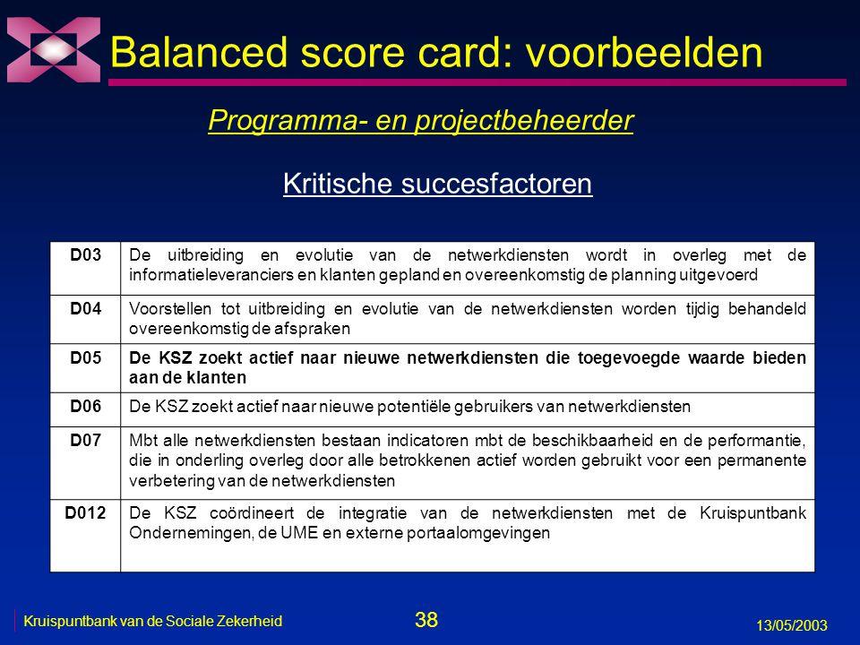 38 13/05/2003 Kruispuntbank van de Sociale Zekerheid Balanced score card: voorbeelden Programma- en projectbeheerder D03De uitbreiding en evolutie van
