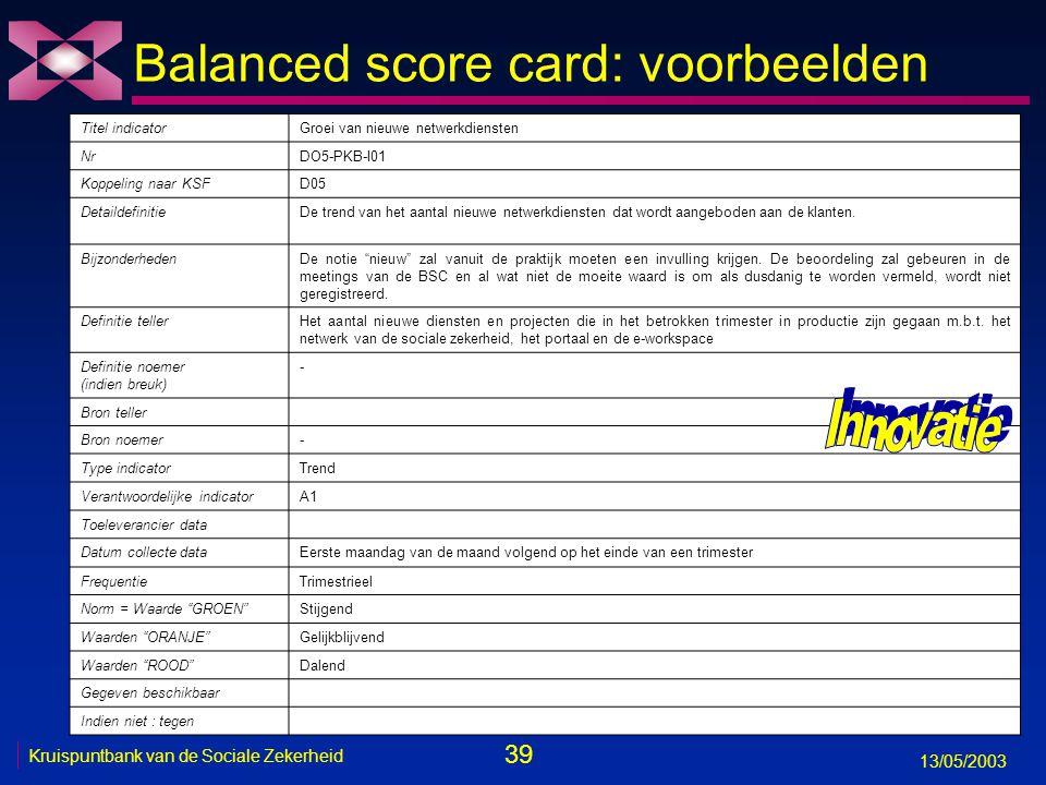 39 13/05/2003 Kruispuntbank van de Sociale Zekerheid Balanced score card: voorbeelden Titel indicatorGroei van nieuwe netwerkdiensten NrDO5-PKB-I01 Ko