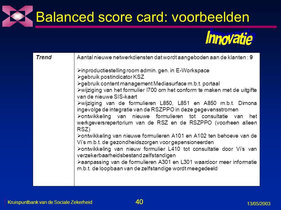 40 13/05/2003 Kruispuntbank van de Sociale Zekerheid Balanced score card: voorbeelden TrendAantal nieuwe netwerkdiensten dat wordt aangeboden aan de k