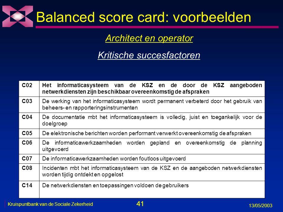 41 13/05/2003 Kruispuntbank van de Sociale Zekerheid Balanced score card: voorbeelden C02Het informaticasysteem van de KSZ en de door de KSZ aangebode