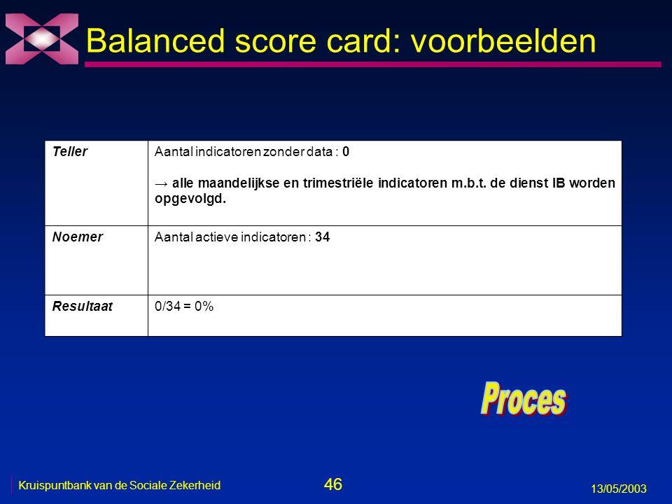 46 13/05/2003 Kruispuntbank van de Sociale Zekerheid Balanced score card: voorbeelden TellerAantal indicatoren zonder data : 0 → alle maandelijkse en