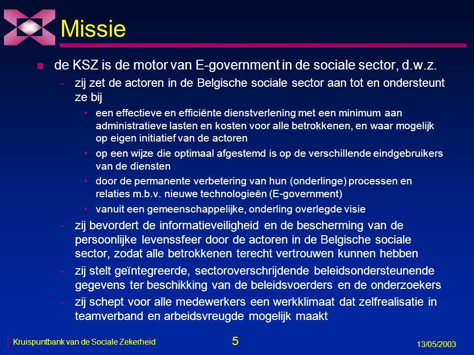 5 13/05/2003 Kruispuntbank van de Sociale Zekerheid Missie n de KSZ is de motor van E-government in de sociale sector, d.w.z. -zij zet de actoren in d