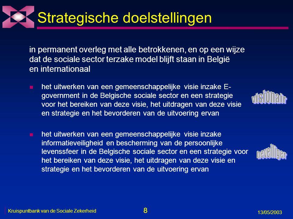 8 13/05/2003 Kruispuntbank van de Sociale Zekerheid Strategische doelstellingen n het uitwerken van een gemeenschappelijke visie inzake E- government