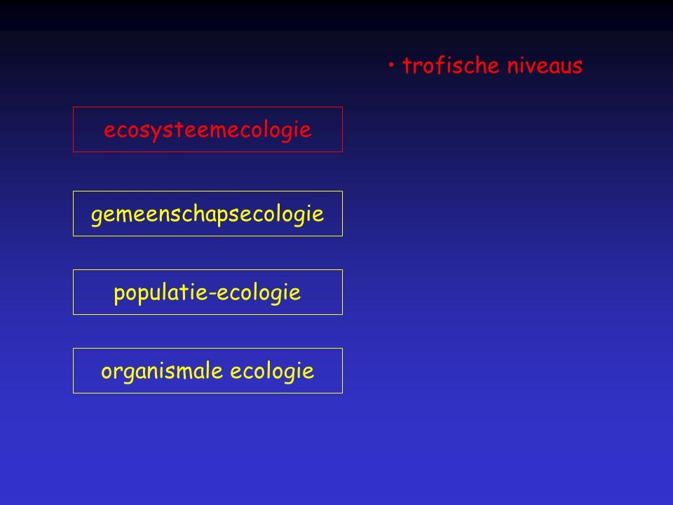 organismale ecologie populatie-ecologie gemeenschapsecologie ecosysteemecologie trofische niveaus