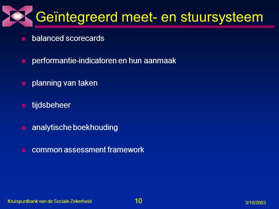 10 3/10/2003 Kruispuntbank van de Sociale Zekerheid Geïntegreerd meet- en stuursysteem n balanced scorecards n performantie-indicatoren en hun aanmaak