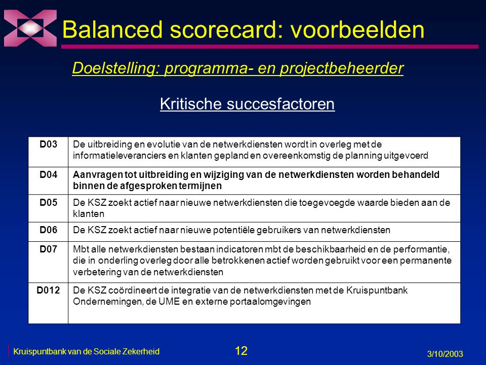 12 3/10/2003 Kruispuntbank van de Sociale Zekerheid Balanced scorecard: voorbeelden Doelstelling: programma- en projectbeheerder D03De uitbreiding en evolutie van de netwerkdiensten wordt in overleg met de informatieleveranciers en klanten gepland en overeenkomstig de planning uitgevoerd D04Aanvragen tot uitbreiding en wijziging van de netwerkdiensten worden behandeld binnen de afgesproken termijnen D05De KSZ zoekt actief naar nieuwe netwerkdiensten die toegevoegde waarde bieden aan de klanten D06De KSZ zoekt actief naar nieuwe potentiële gebruikers van netwerkdiensten D07Mbt alle netwerkdiensten bestaan indicatoren mbt de beschikbaarheid en de performantie, die in onderling overleg door alle betrokkenen actief worden gebruikt voor een permanente verbetering van de netwerkdiensten D012De KSZ coördineert de integratie van de netwerkdiensten met de Kruispuntbank Ondernemingen, de UME en externe portaalomgevingen Kritische succesfactoren