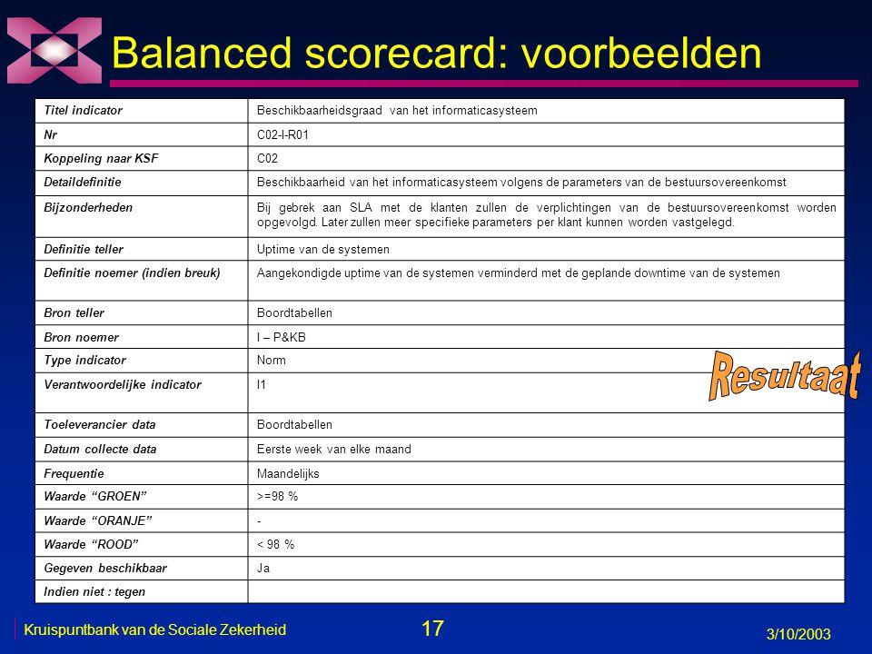 17 3/10/2003 Kruispuntbank van de Sociale Zekerheid Balanced scorecard: voorbeelden Titel indicatorBeschikbaarheidsgraad van het informaticasysteem NrC02-I-R01 Koppeling naar KSFC02 DetaildefinitieBeschikbaarheid van het informaticasysteem volgens de parameters van de bestuursovereenkomst BijzonderhedenBij gebrek aan SLA met de klanten zullen de verplichtingen van de bestuursovereenkomst worden opgevolgd.