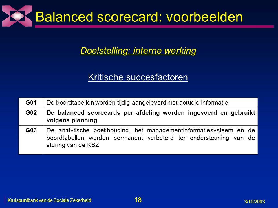18 3/10/2003 Kruispuntbank van de Sociale Zekerheid Balanced scorecard: voorbeelden Doelstelling: interne werking Kritische succesfactoren G01De boord