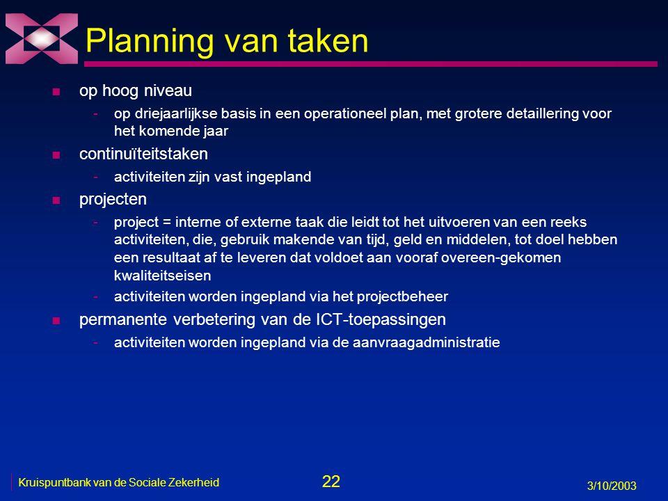 22 3/10/2003 Kruispuntbank van de Sociale Zekerheid Planning van taken n op hoog niveau -op driejaarlijkse basis in een operationeel plan, met grotere