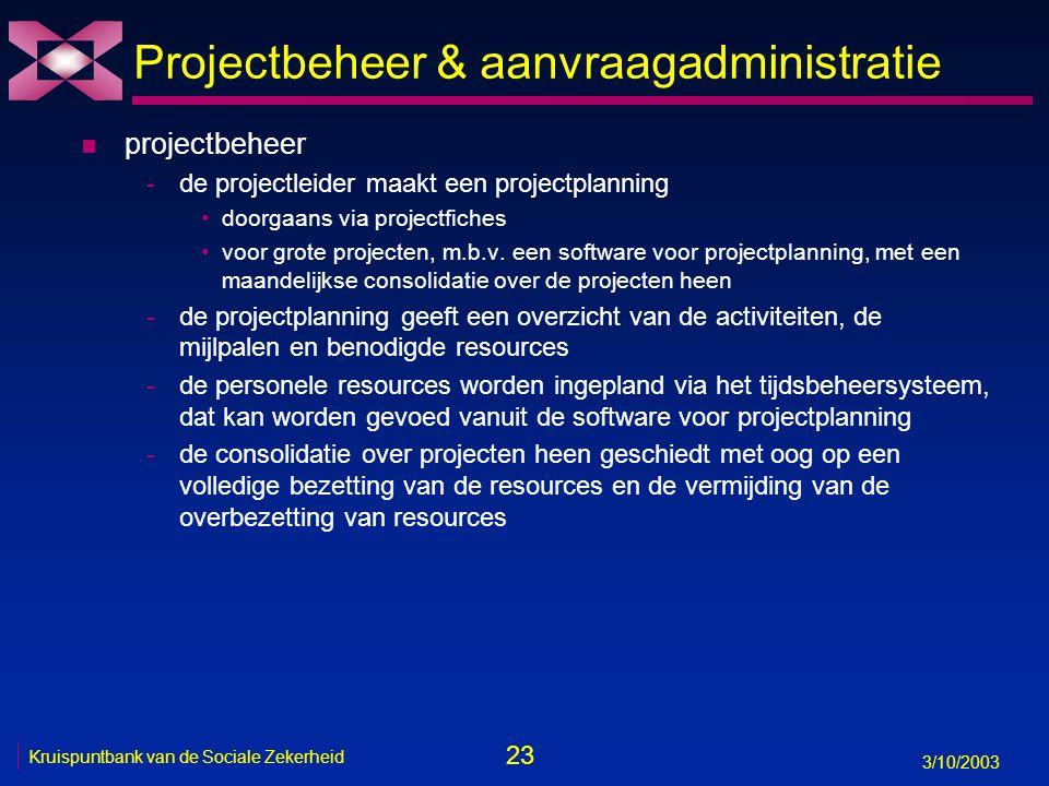 23 3/10/2003 Kruispuntbank van de Sociale Zekerheid Projectbeheer & aanvraagadministratie n projectbeheer -de projectleider maakt een projectplanning doorgaans via projectfiches voor grote projecten, m.b.v.