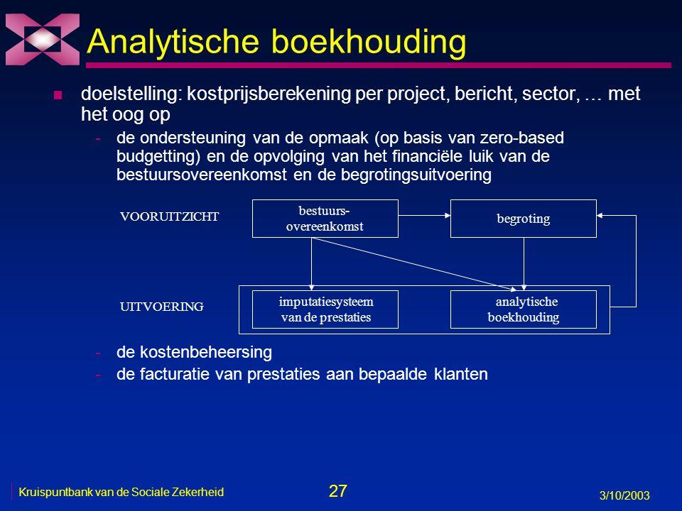 27 3/10/2003 Kruispuntbank van de Sociale Zekerheid Analytische boekhouding n doelstelling: kostprijsberekening per project, bericht, sector, … met het oog op -de ondersteuning van de opmaak (op basis van zero-based budgetting) en de opvolging van het financiële luik van de bestuursovereenkomst en de begrotingsuitvoering -de kostenbeheersing -de facturatie van prestaties aan bepaalde klanten bestuurs- overeenkomst begroting imputatiesysteem van de prestaties analytische boekhouding VOORUITZICHT UITVOERING