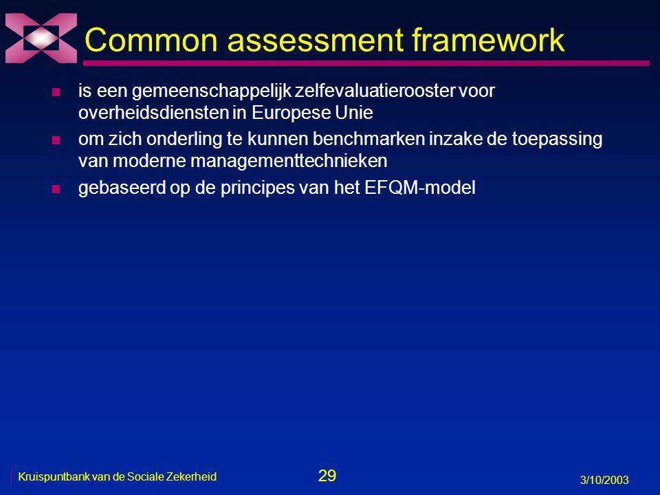 29 3/10/2003 Kruispuntbank van de Sociale Zekerheid Common assessment framework n is een gemeenschappelijk zelfevaluatierooster voor overheidsdiensten in Europese Unie n om zich onderling te kunnen benchmarken inzake de toepassing van moderne managementtechnieken n gebaseerd op de principes van het EFQM-model