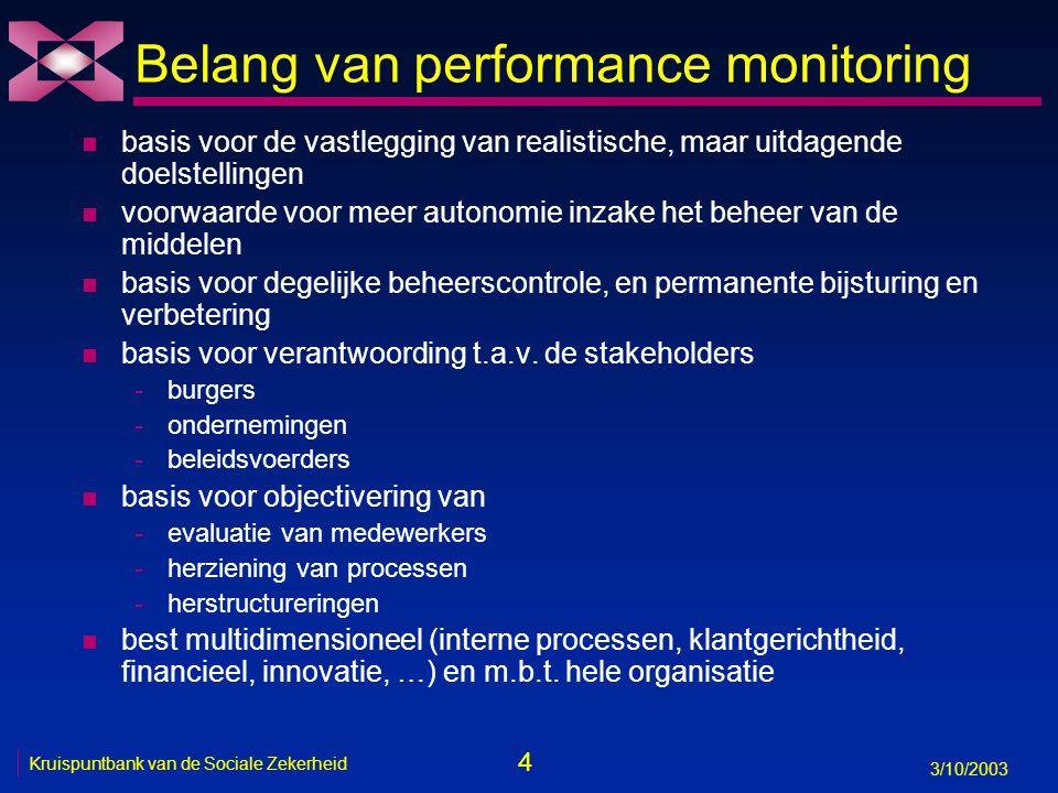 4 3/10/2003 Kruispuntbank van de Sociale Zekerheid Belang van performance monitoring n basis voor de vastlegging van realistische, maar uitdagende doe