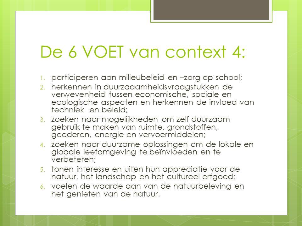 De 6 VOET van context 4: 1.participeren aan milieubeleid en –zorg op school; 2.