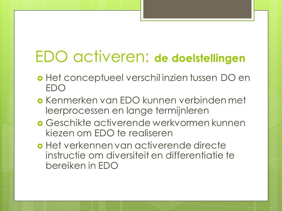 EDO activeren: de doelstellingen  Het conceptueel verschil inzien tussen DO en EDO  Kenmerken van EDO kunnen verbinden met leerprocessen en lange termijnleren  Geschikte activerende werkvormen kunnen kiezen om EDO te realiseren  Het verkennen van activerende directe instructie om diversiteit en differentiatie te bereiken in EDO