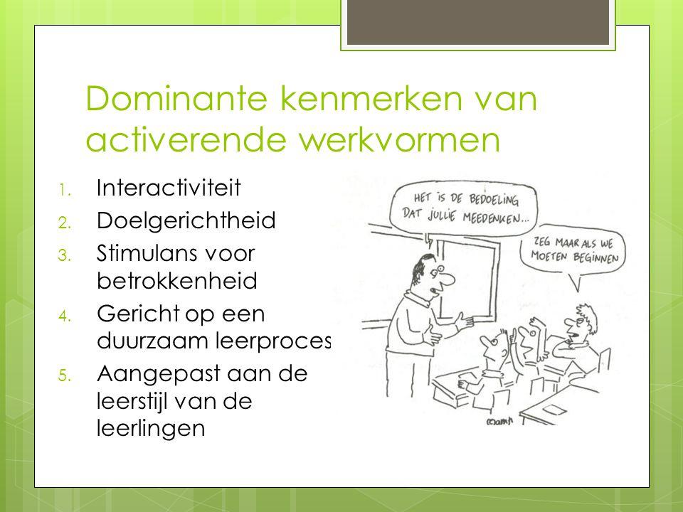 Dominante kenmerken van activerende werkvormen 1.Interactiviteit 2.