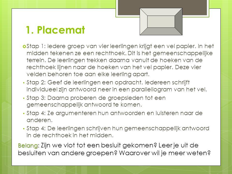 1.Placemat  Stap 1: Iedere groep van vier leerlingen krijgt een vel papier.