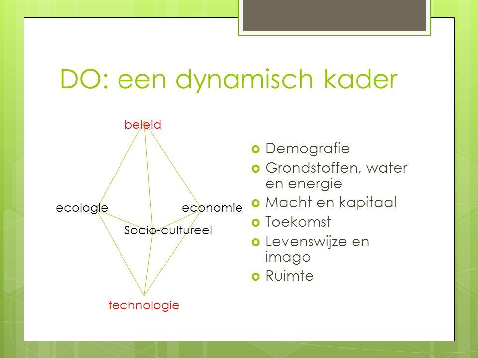 DO: een dynamisch kader  Demografie  Grondstoffen, water en energie  Macht en kapitaal  Toekomst  Levenswijze en imago  Ruimte ecologieeconomie Socio-cultureel beleid technologie