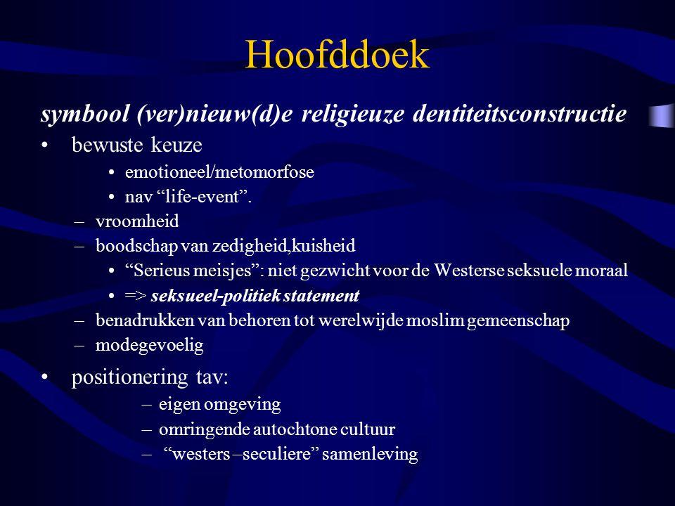 """Hoofddoek symbool (ver)nieuw(d)e religieuze dentiteitsconstructie bewuste keuze emotioneel/metomorfose nav """"life-event"""". –vroomheid –boodschap van zed"""
