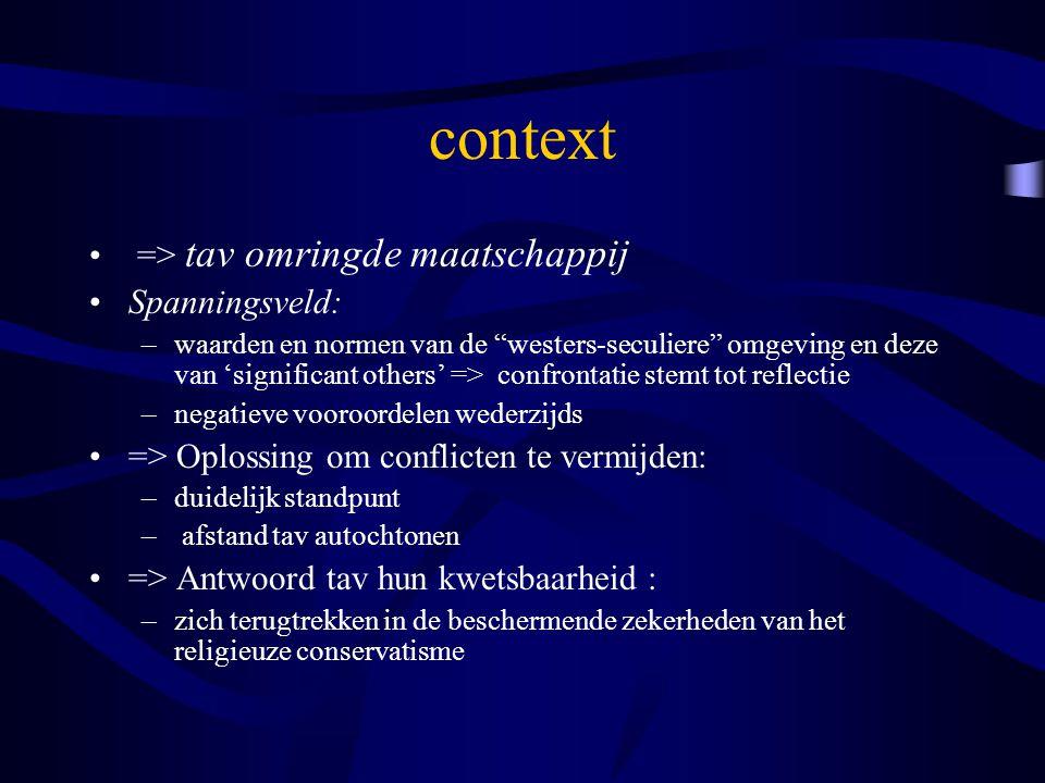"""context => tav omringde maatschappij Spanningsveld: –waarden en normen van de """"westers-seculiere"""" omgeving en deze van 'significant others' => confron"""