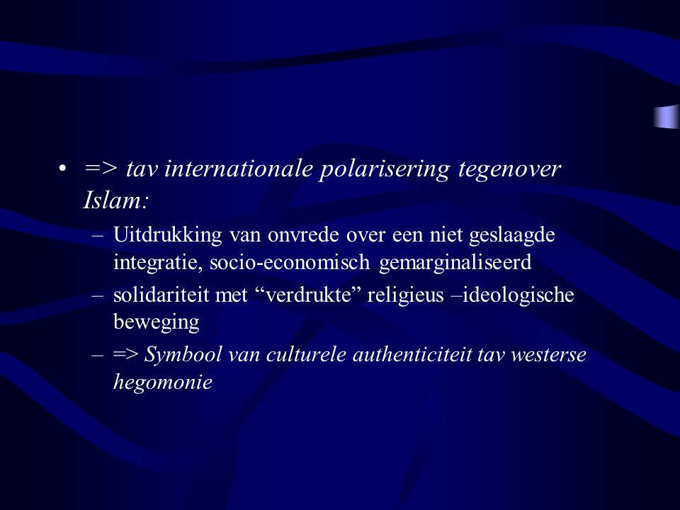 => tav internationale polarisering tegenover Islam: –Uitdrukking van onvrede over een niet geslaagde integratie, socio-economisch gemarginaliseerd –so