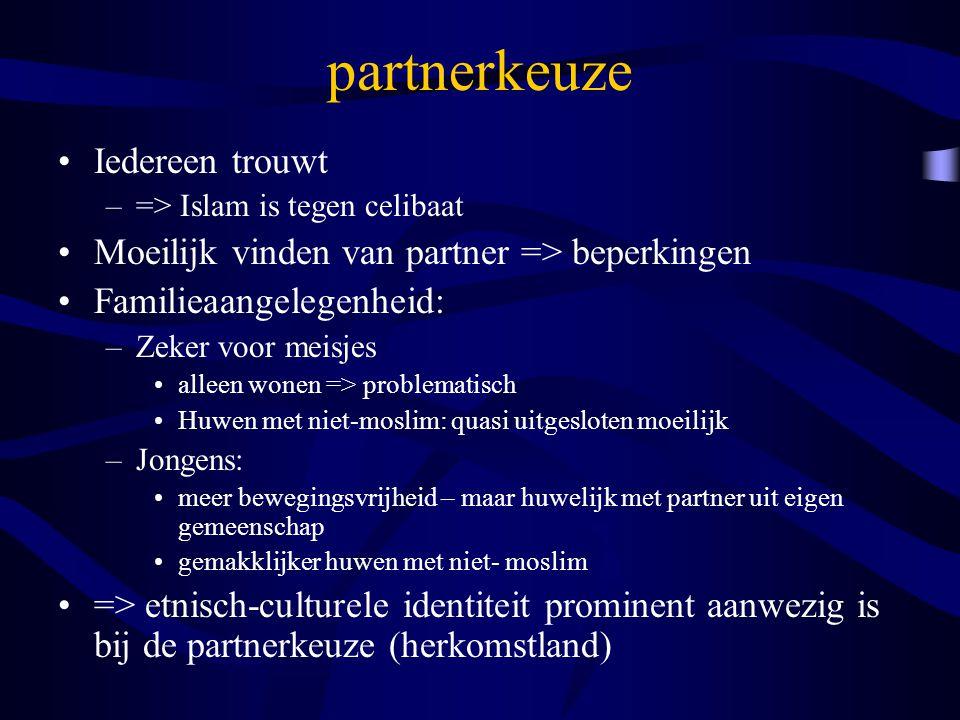 partnerkeuze Iedereen trouwt –=> Islam is tegen celibaat Moeilijk vinden van partner => beperkingen Familieaangelegenheid: –Zeker voor meisjes alleen