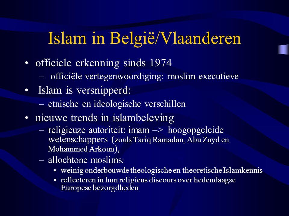 Islam in België/Vlaanderen officiele erkenning sinds 1974 – officiële vertegenwoordiging: moslim executieve Islam is versnipperd: –etnische en ideologische verschillen nieuwe trends in islambeleving –religieuze autoriteit: imam => hoogopgeleide wetenschappers ( zoals Tariq Ramadan, Abu Zayd en Mohammed Arkoun ), –allochtone moslims : weinig onderbouwde theologische en theoretische Islamkennis reflecteren in hun religieus discours over hedendaagse Europese bezorgdheden