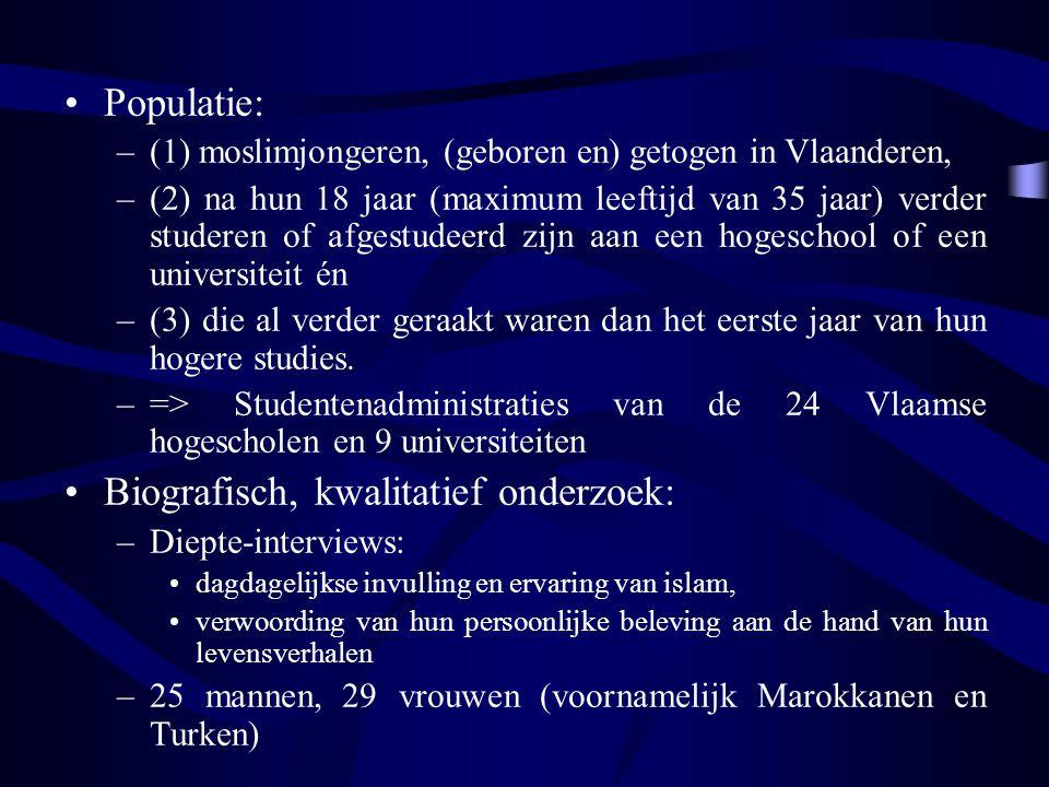Populatie: –(1) moslimjongeren, (geboren en) getogen in Vlaanderen, –(2) na hun 18 jaar (maximum leeftijd van 35 jaar) verder studeren of afgestudeerd zijn aan een hogeschool of een universiteit én –(3) die al verder geraakt waren dan het eerste jaar van hun hogere studies.